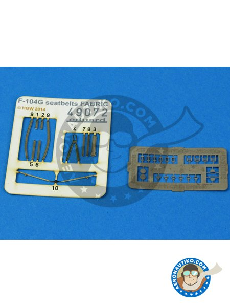 F-104G Seatbelts | Photo-etched parts in 1/48 scale manufactured by Eduard (ref. 49072) image