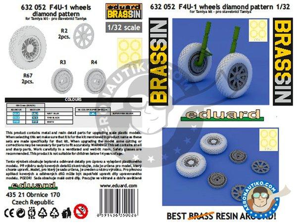 Image 3: F4U-1 wheels diamond pattern   Wheels in 1/32 scale manufactured by Eduard (ref.632052)