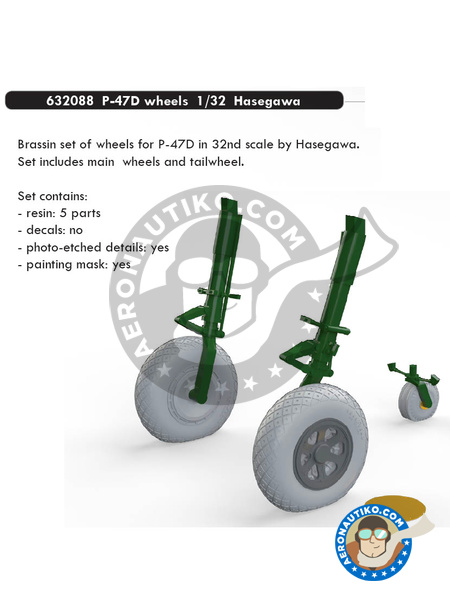 Republic P-47 Thunderbolt D Bubble Top | Wheels in 1/32 scale manufactured by Eduard (ref.632088) image