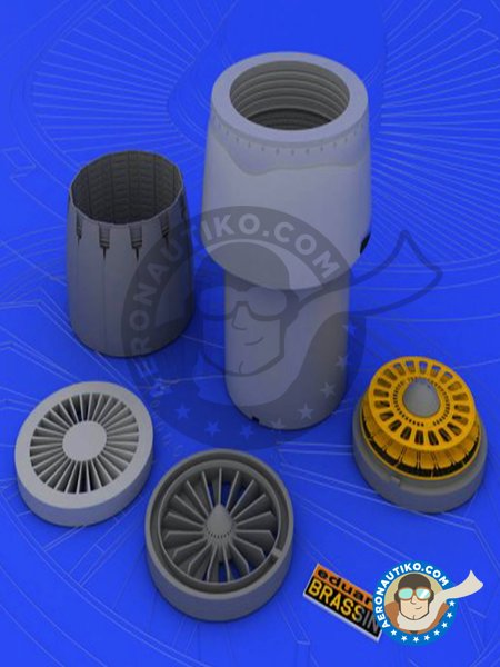 F-16CJ Block 50 engine | Brassin detail up set in 1/48 scale manufactured by Eduard (ref.648020) image