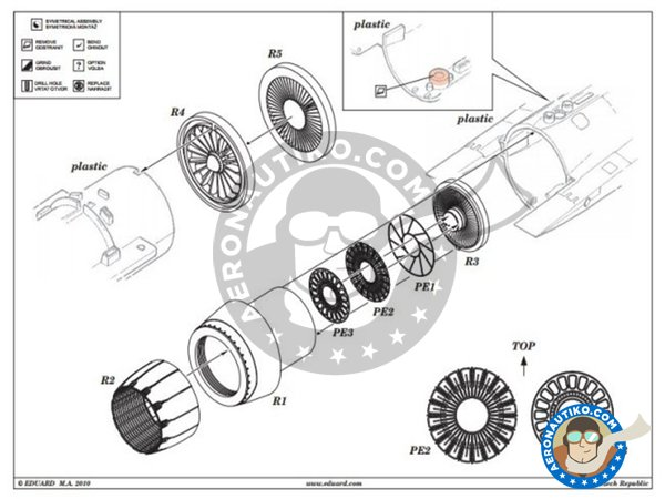 Image 1: F-16CJ Block 50 engine | Brassin detail up set in 1/48 scale manufactured by Eduard (ref.648020)