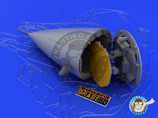 Image 1: F-16 Radar late (APG-68) | Brassin detail up set in 1/48 scale manufactured by Eduard (ref. 648033)