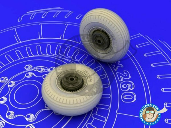 Image 3: Il-2 Wheels | Wheels in 1/48 scale manufactured by Eduard (ref.648072)