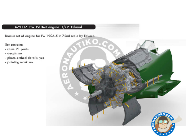 Image 1: Focke-Wulf Fw 190 Würger A-5 | Engine in 1/72 scale manufactured by Eduard (ref. 672117)