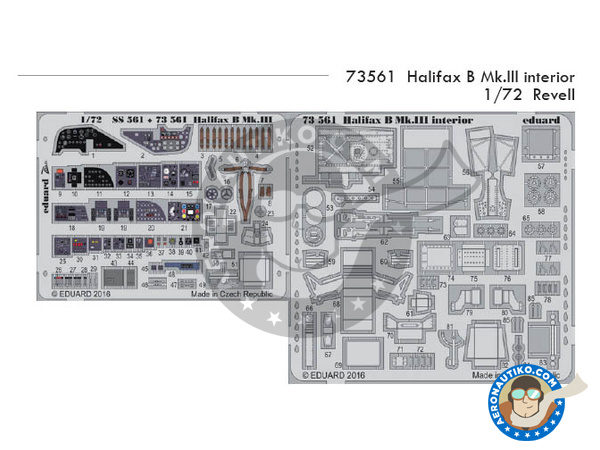 Image 1: Handley Page Halifax B Mk. III | Photo-etched parts in 1/72 scale manufactured by Eduard (ref. 73561)