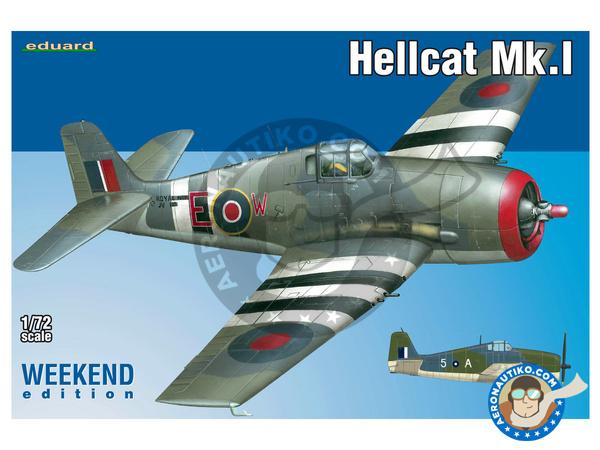Image 1: Grumman F6F Hellcat Mk. I | Airplane kit in 1/72 scale manufactured by Eduard (ref.7437)