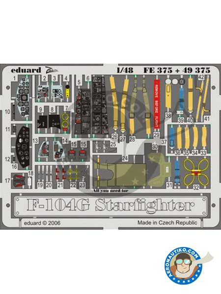 F-104G Starfighter | Cockpit set | Photo-etched parts in 1/48 scale manufactured by Eduard (ref. FE375) image