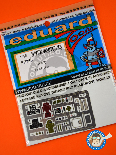 Curtiss P-40 Warhawk B | Coloured photo-etched cockpit parts in 1/48 scale manufactured by Eduard (ref.FE786) image