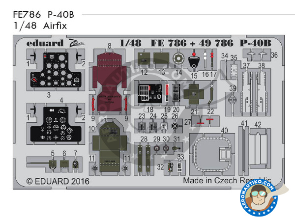 Image 1: Curtiss P-40 Warhawk B | Coloured photo-etched cockpit parts in 1/48 scale manufactured by Eduard (ref.FE786)