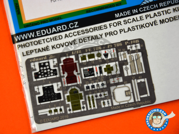 Image 3: Curtiss P-40 Warhawk B | Coloured photo-etched cockpit parts in 1/48 scale manufactured by Eduard (ref. FE786)