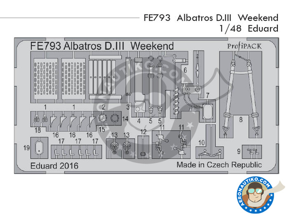 Image 1: Albatros Flugzeugwerke D.III | Coloured photo-etched cockpit parts in 1/48 scale manufactured by Eduard (ref. FE793)