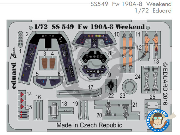 Image 1: Focke-Wulf Fw 190 Würger A-8 | Coloured photo-etched cockpit parts in 1/72 scale manufactured by Eduard (ref. SS549)