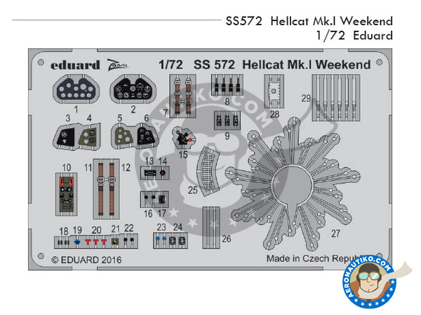 Image 1: Grumman F6F Hellcat Mk I | Detail in 1/72 scale manufactured by Eduard (ref.SS572)
