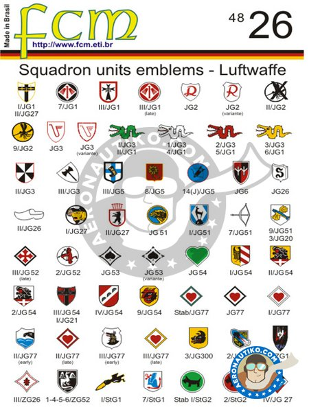 Squadron units emblems Luftwaffe WWII | Marking / livery in 1/48 scale manufactured by FCM Decals (ref. 48026) image
