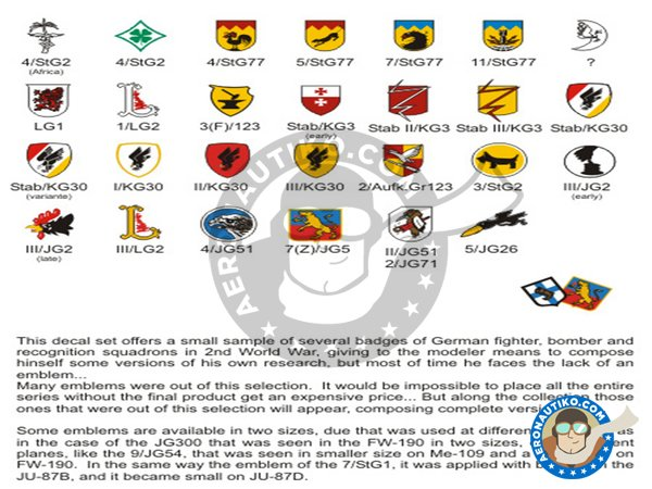 Image 1: Squadron units emblems Luftwaffe WWII | Marking / livery in 1/48 scale manufactured by FCM Decals (ref. 48026)