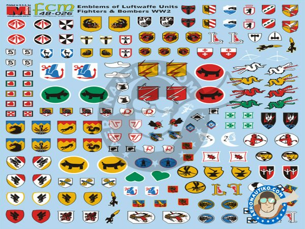 Image 2: Squadron units emblems Luftwaffe WWII | Marking / livery in 1/48 scale manufactured by FCM Decals (ref. 48026)