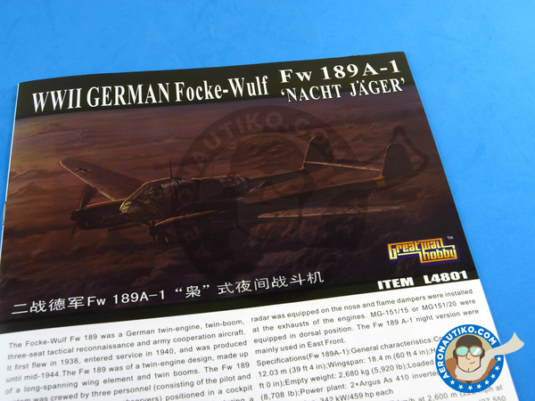 Image 11: Focke-Wulf Fw 189 Uhu A-1 Nacht Jäger | Airplane kit in 1/48 scale manufactured by Great Wall Hobby (ref. L4801)