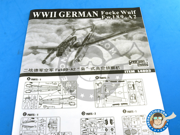 Image 9: Focke-Wulf Fw 189 Uhu A-2 | Airplane kit in 1/48 scale manufactured by Great Wall Hobby (ref. L4803)