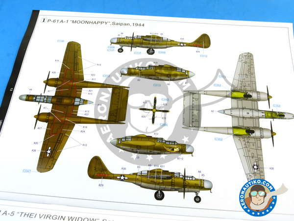 Image 27: Northrop P-61 Black Widow A Glass Nose | Airplane kit in 1/48 scale manufactured by Great Wall Hobby (ref. L4806)