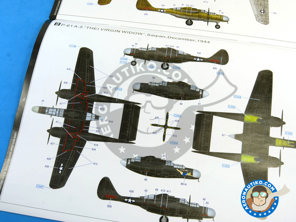 Image 28: Northrop P-61 Black Widow A Glass Nose | Airplane kit in 1/48 scale manufactured by Great Wall Hobby (ref. L4806)