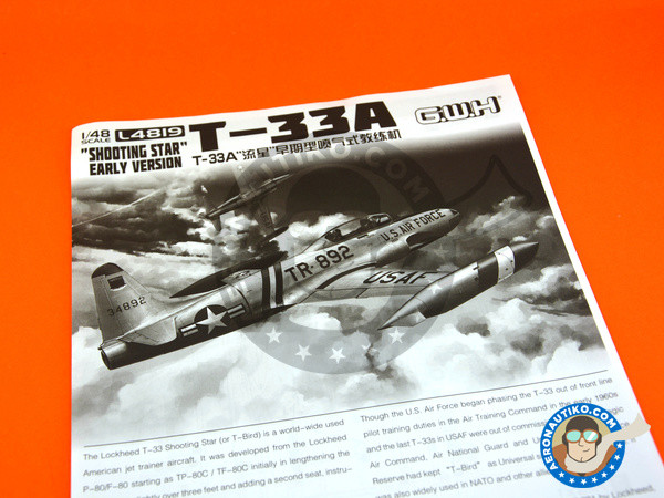 Image 8: Lockheed T-33 Shooting Star A early version | Airplane kit in 1/48 scale manufactured by Great Wall Hobby (ref. L4819)