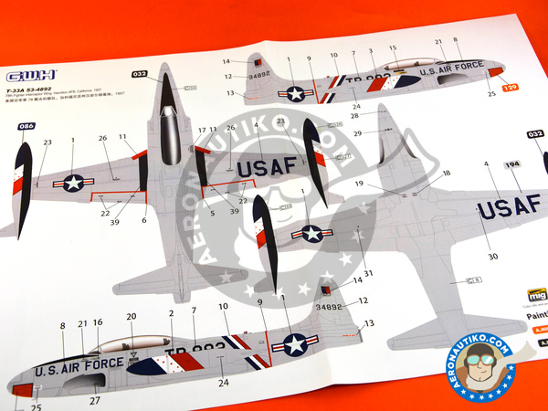 Image 15: Lockheed T-33 Shooting Star A early version | Airplane kit in 1/48 scale manufactured by Great Wall Hobby (ref. L4819)