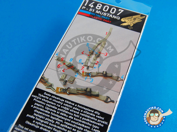 Image 2: North American P-51 Mustang | Seatbelts in 1/48 scale manufactured by HGW (ref.148007)
