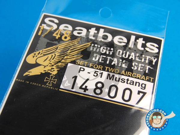 Image 5: North American P-51 Mustang | Seatbelts in 1/48 scale manufactured by HGW (ref.148007)