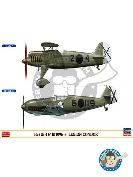 He51B-1 & Bf109E-3 'Legión Condor' | Airplane kit in 1/72 scale manufactured by Hasegawa (ref. 02197) image