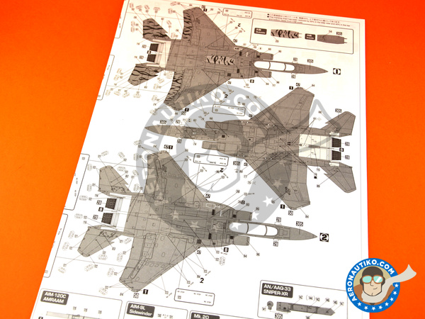 Image 16: McDonnell Douglas F-15 Eagle E | Airplane kit in 1/48 scale manufactured by Hasegawa (ref.07318)