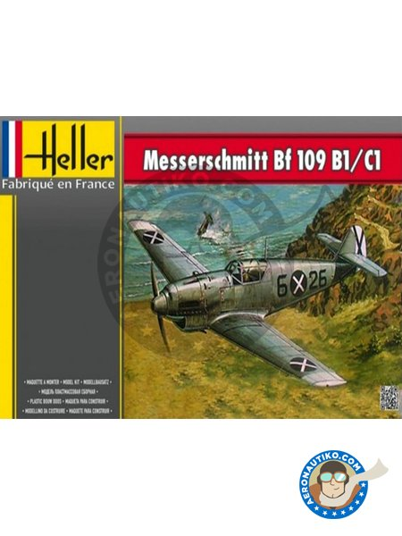 Messerschmitt Bf 109 B1/C1 | Airplane kit in 1/72 scale manufactured by Heller (ref. 80236) image