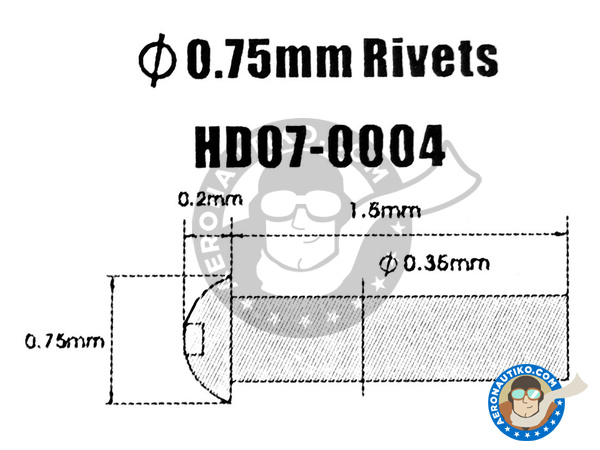 Image 2: Rivet head 0.75mm | Rivets manufactured by Hobby Design (ref.HD07-0004)