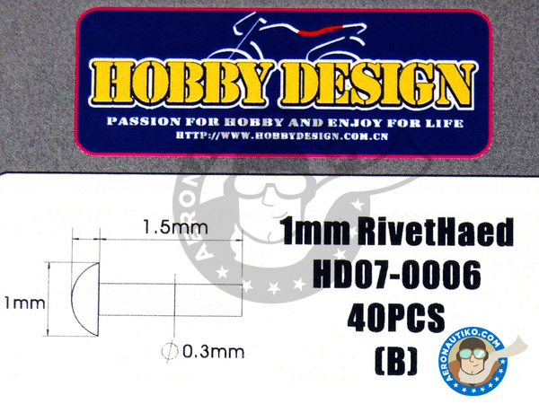 Image 2: Rivet Head 1.00m | Rivets manufactured by Hobby Design (ref. HD07-0006)