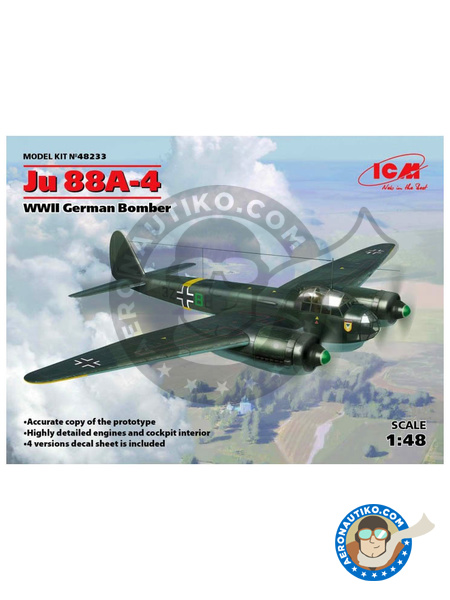 Junkers Ju 88 A-4 | Airplane kit in 1/48 scale manufactured by ICM (ref. 48233) image