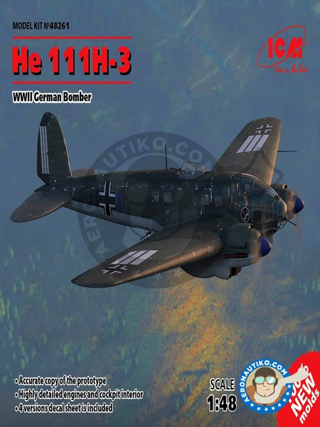 Heinkel He 111 | Airplane kit in 1/48 scale manufactured by ICM (ref. 48261) image