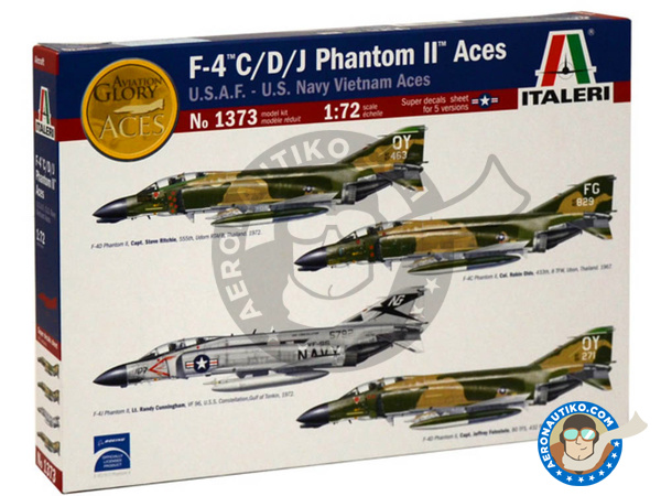 Image 2: McDonnell Douglas F-4 Phantom II C / D / J | Airplane kit in 1/72 scale manufactured by Italeri (ref. 1373)