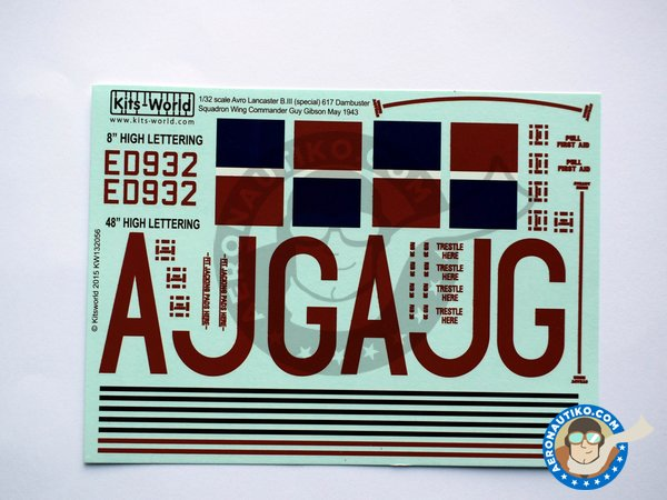 Image 1: Set of decals for Avro Lancaster B III | Decals in 1/32 scale manufactured by Kits World (ref.KW132056)