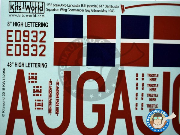 Image 2: Set of decals for Avro Lancaster B III | Decals in 1/32 scale manufactured by Kits World (ref.KW132056)