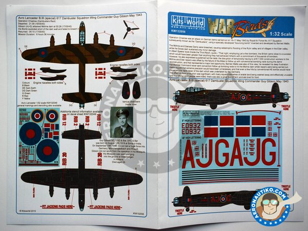 Image 4: Avro Lancaster B III | Markings | Marking / livery in 1/32 scale manufactured by Kits World (ref. KW132056)