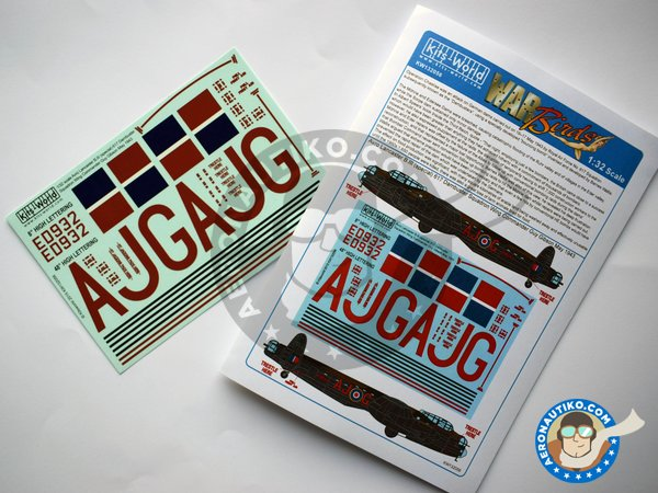 Image 5: Set of decals for Avro Lancaster B III | Decals in 1/32 scale manufactured by Kits World (ref.KW132056)