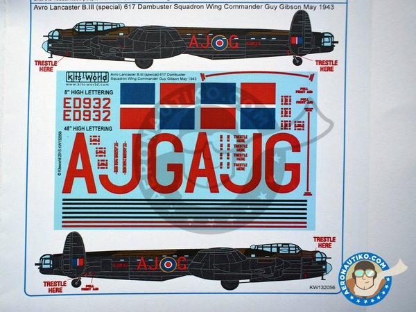 Image 6: Set of decals for Avro Lancaster B III | Decals in 1/32 scale manufactured by Kits World (ref.KW132056)