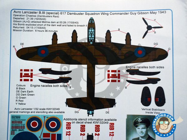 Image 8: Avro Lancaster B III | Markings | Marking / livery in 1/32 scale manufactured by Kits World (ref.KW132056)