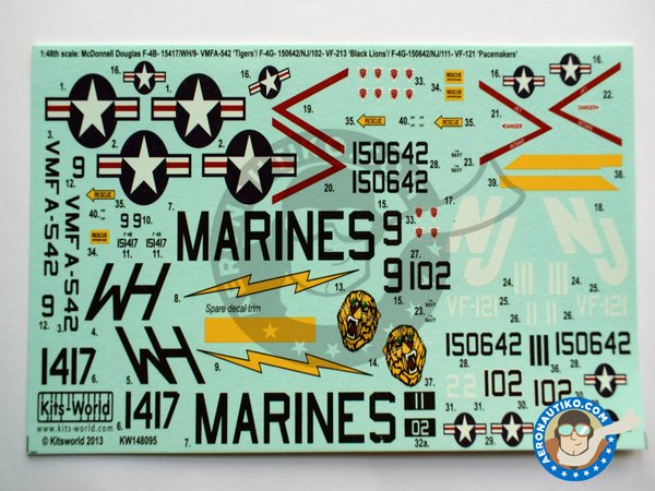 """Image 1: Decal for McDonnell Douglas F-4B """"Phantom"""" 