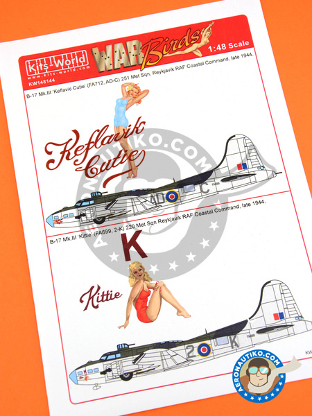 Boeing B-17 Flying Fortress Mk. III | Marking / livery in 1/48 scale manufactured by Kits World (ref. KW148144) image