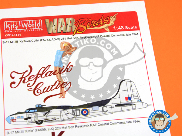 Image 1: Boeing B-17 Flying Fortress Mk. III | Marking / livery in 1/48 scale manufactured by Kits World (ref.KW148144)