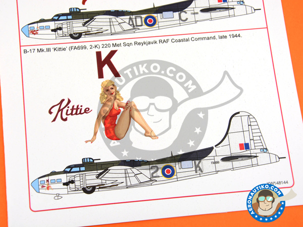 Image 2: Boeing B-17 Flying Fortress Mk. III | Marking / livery in 1/48 scale manufactured by Kits World (ref.KW148144)