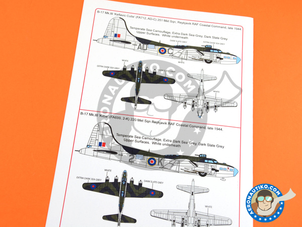Image 3: Boeing B-17 Flying Fortress Mk. III | Marking / livery in 1/48 scale manufactured by Kits World (ref. KW148144)