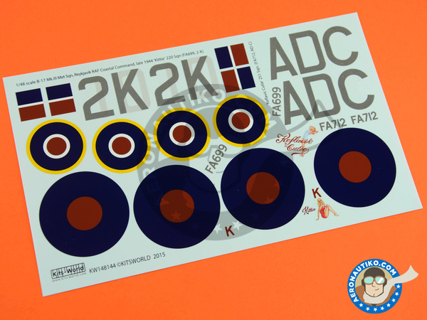 Image 4: Boeing B-17 Flying Fortress Mk. III | Marking / livery in 1/48 scale manufactured by Kits World (ref.KW148144)
