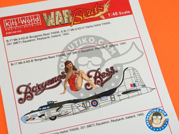 Image 1: Boeing B-17 Flying Fortress | Marking / livery in 1/48 scale manufactured by Kits World (ref. KW148145)