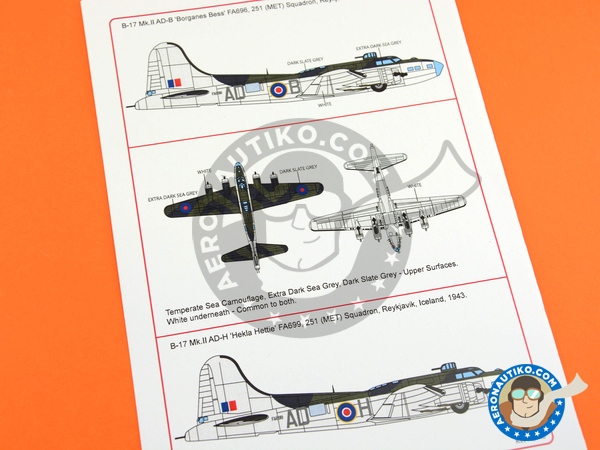 Image 4: Boeing B-17 Flying Fortress | Marking / livery in 1/48 scale manufactured by Kits World (ref. KW148145)